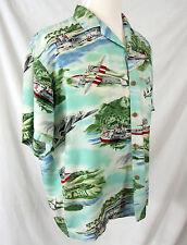 Paradise Found Hawaiian Shirt XL Seaplane Airplane Made in Honolulu Hawaii Rayon