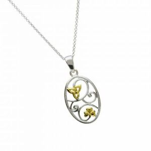 Ovaler-irischer-Anhaenger-Silber-Kleeblatt-Trinity-Knot