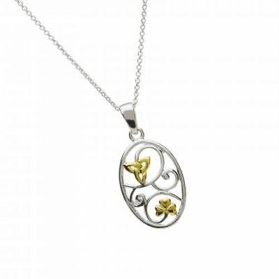 VertrauenswüRdig Ovaler Irischer Anhänger Silber Kleeblatt Trinity Knot Verbraucher Zuerst