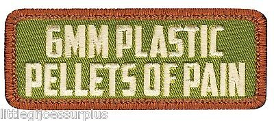 """PELLETS OF PAIN HOOK BACKING Military & Airsoft PATCH 11/8"""" X 3"""" 72190"""