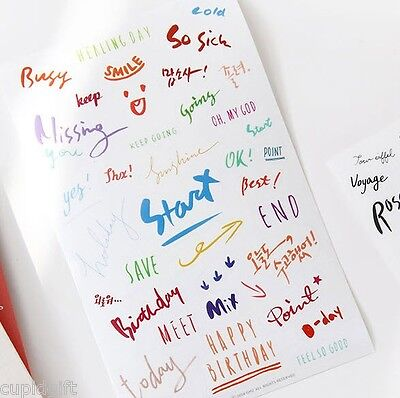 Petit Decor Calligraphy Sticker Diary Planner Book Scrapbook Label Index Tab