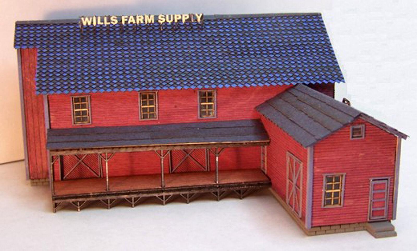 WILL'S FEED & SEED N Scale Model Railroad Structure Unptd Wood Laser Kit RSL3008