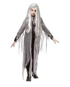 Image is loading Girl-039-s-Gauze-Ghost-Child-Halloween-Costume-  sc 1 st  eBay & Girlu0027s Gauze Ghost Child Halloween Costume Black Dress Hooded Wig ...