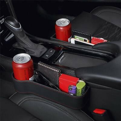 Pair Leather Car Seat Crevice Storage Box Pocket Organizer Phone Card Cup Holder