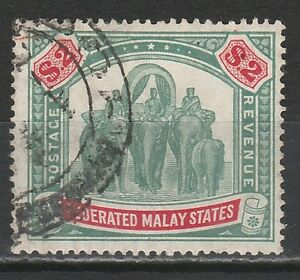 FEDERATED MALAY STATES 1922 TIGER $2 WMK MULTI SCRIPT CA POSTALLY USED