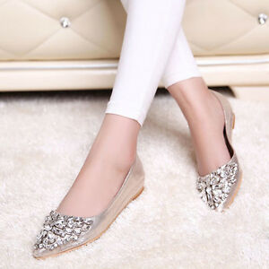 Women-039-s-Rhinestone-Pointed-Toe-Pumps-Wedding-Flat-Causal-Crystal-Ballet-Shoes