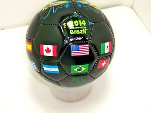 FIFA-2014-Brazil-world-cup-Black-MINI-soccer-ball-size-2-sz-flags-international