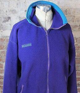 bc58bd22443f70 VTG 90s Columbia Fleece Jacket Purple Teal Retro Women s Size M ...