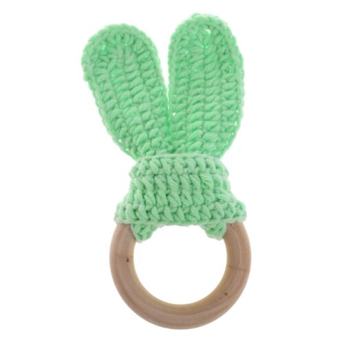 Safety Wooden Natural Baby Knit Rabbit Teething Ring Teether Bunny Sensory Toy