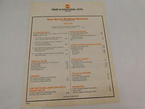 Vintage 1980's Host International Hotels Restaurant Menu Houston Texas