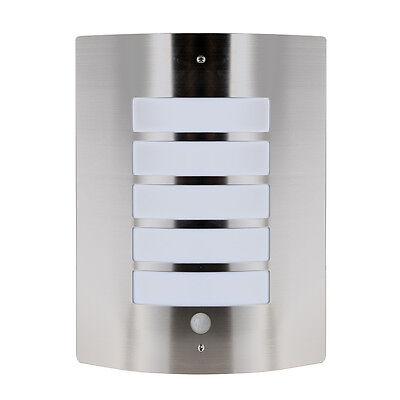 Stainless Steel Chrome Outdoor Garden Flush PIR Bulkhead Wall Light Lantern NEW