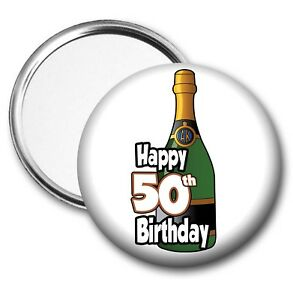 Image Is Loading Champagne Bottle Pocket Mirror 50th Birthday Gift Ladies
