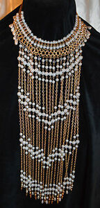 Glamour-Pearl-amp-Gold-Tone-Choker-Breastplate-with-Dangled-Chains-of-Beads