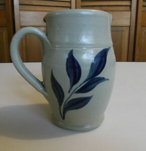 HANDMADE-CLAY-CREAMER-by-The-Williamsburg-Pottery-Handpainted-Leaf-Design