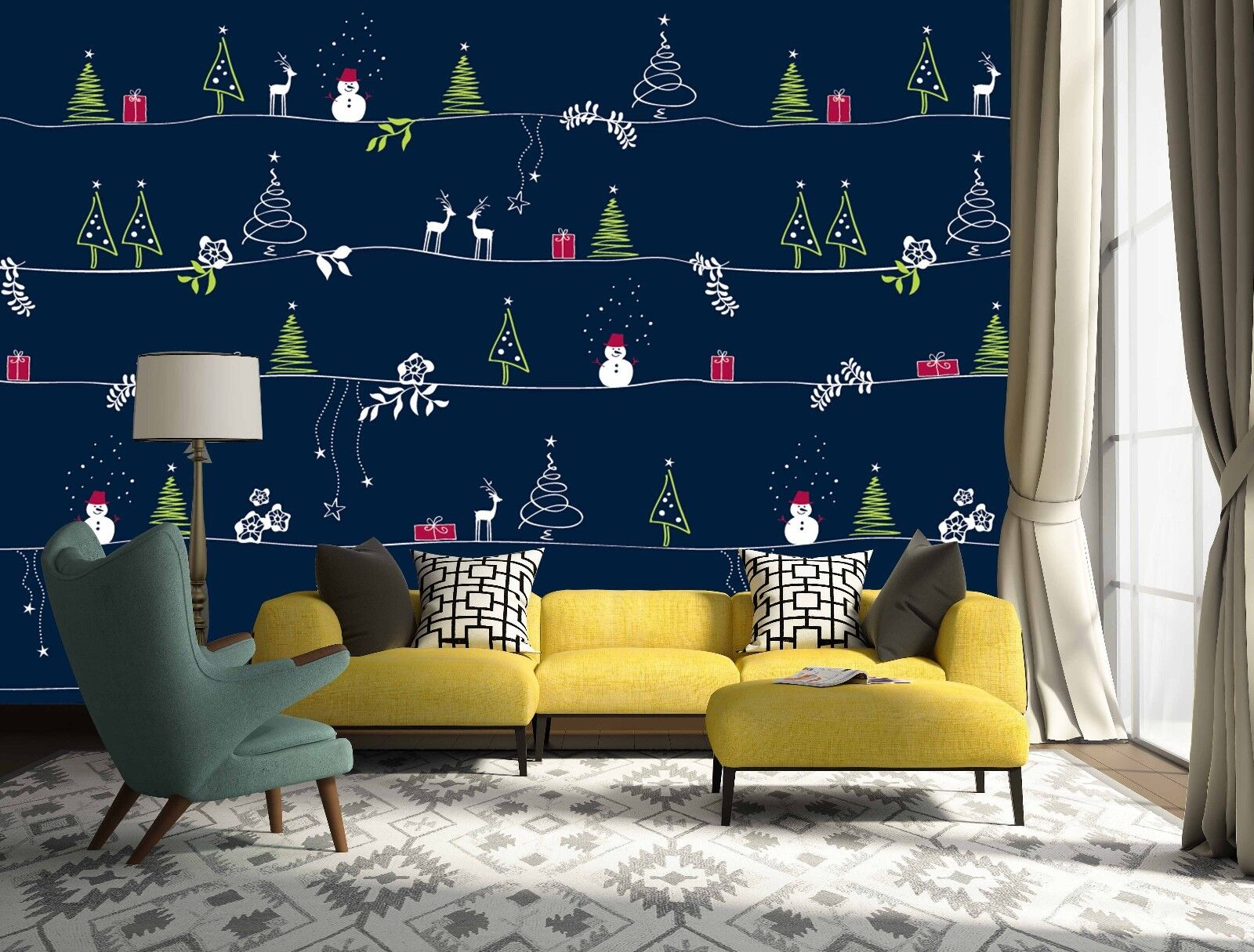 3D Christmas Tree 45 Wallpaper Murals Wall Print Wallpaper Mural AJ WALLPAPER UK