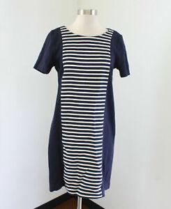 J Crew Striped Knit Shift Dress Size 6 Navy Blue Cream Short Sleeve A3446