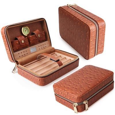 Portable Cigar Holder for 5 Cigars Volenx Cigar Case Cedar Wood Lined Travel Humidor Cigar Humidifier Case with Hygrometer