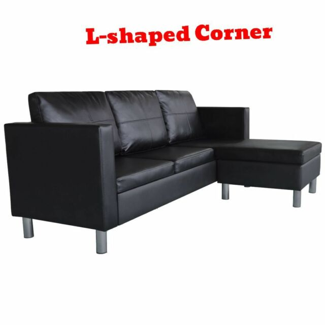 Office Sectional Sofa 3 Seater L Shape Faux Leather Couch Living Room  Furniture