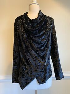 BLANK NYC Crushed Velvet Asymmetric Black Moto Zip Jacket. Size S New With Tags