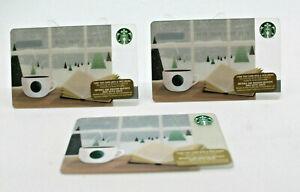 Starbucks Coffee 2015 Gift Card Bag Book Coffee WIndow Snow Zero Balance Set 3