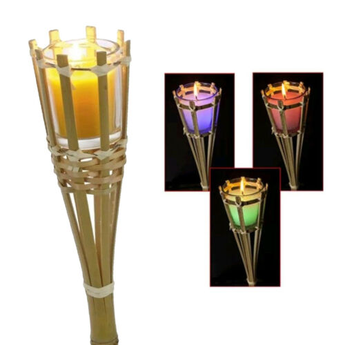 Citronella Candle Colour Changing Torch Outdoor Garden Bamboo Scented Lights
