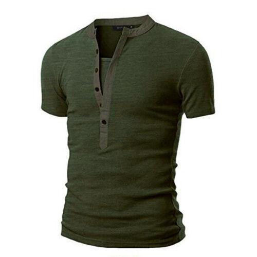Camiseta para Hombres Elegante Calce Entallado Cuello en V Manga Corta Camisetas Prendas para el torso Informales muscular