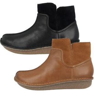 Details zu Clarks Funny Mid Cut Schuhe Women Damen Chelsea Boots Leder Stiefeletten Stiefel
