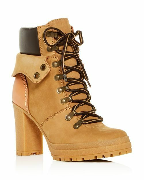 See by Chloé Women's Cargo Hiker Round Toe Lace Up Leather Booties Size 40 Natur
