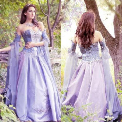 Fantasie Lavendel bruidsjurk trouwjurk Fairy Lace alle maten Aangepaste Middeleeuwse WD9YEH2I