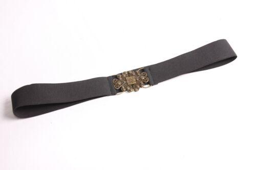 S384 Distinguere le donne Plain Nero Elasticizzato Cintura Fibbia in Metallo Rame W