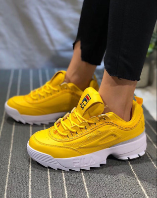 Womens Fila Disruptor II Premium Athletic shoesTrainers yellow color  #-21vioz | eBay