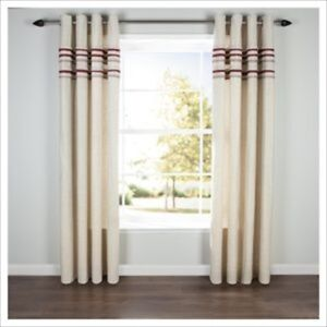 Image Is Loading PAIR LINEN PLEAT LINED EYELET CURTAINS RED 64
