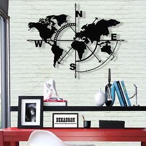 Image Is Loading World Map Wall Art Geometric Metal