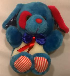 "Patriotic Stuffed Dog 6 1/2"", New"