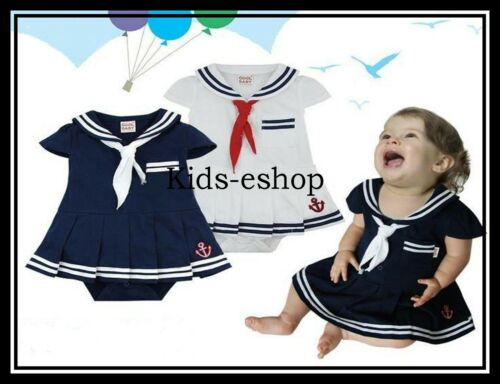 Sailor Style Dress Girl Navy White Summer Dress Suit 3 6 12 24 M