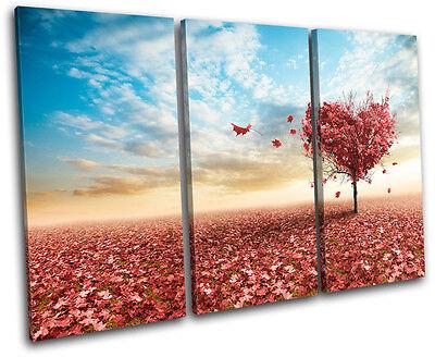 Maple Tree Heart Love TREBLE CANVAS WALL ART Picture Print VA