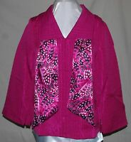Simonton Says Gorgeous Classy Textured Jacket With Printed Lining & Scarf Pink M