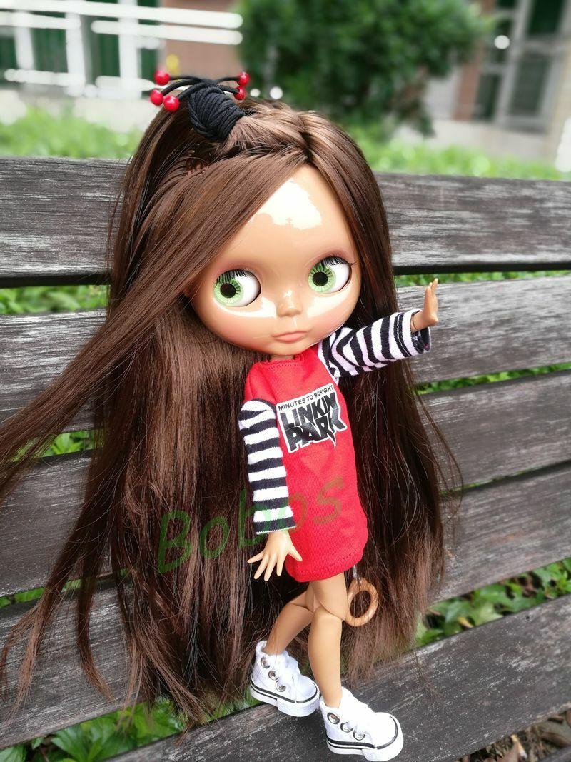 12  Neo Blythe muñeca de fábrica fábrica fábrica cuerpo articulado negro Piel Marrón Pelo Cabello parcial  hasta 42% de descuento