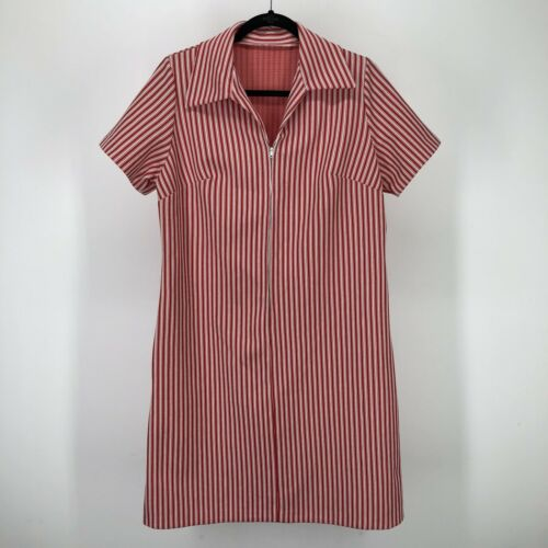 Vintage Womens Dress Striped Red White Half Zip 50