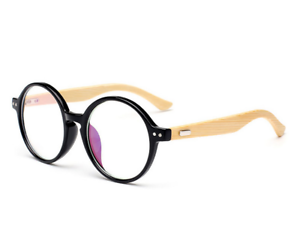 25c717d8a25 Image is loading Bamboo-temple-Eyeglasses-Frames-Black-Retro-wood-Eyewear-