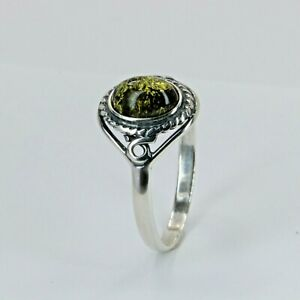 Size 9 - Green - BALTIC AMBER Ring - 925 STERLING SILVER - Poland #0963