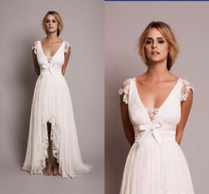 Boho Beach Short Wedding Dresses With Lace High Low Country Bridal Gown Ebay