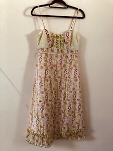 Whistles-Cream-Rose-Floral-Pattern-Silk-Blend-Strappy-Dress-Size-10-A1711