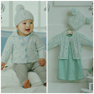10f3d266f KNITTING PATTERN Baby Collared EASY Cable   Rib Jacket   Pom-pom Hat ...