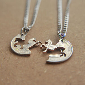 HORSE-PENDANT-NECKLACE-SET-INTERLOCKING-COUPLES-JEWELRY-HAND-CUT-COIN