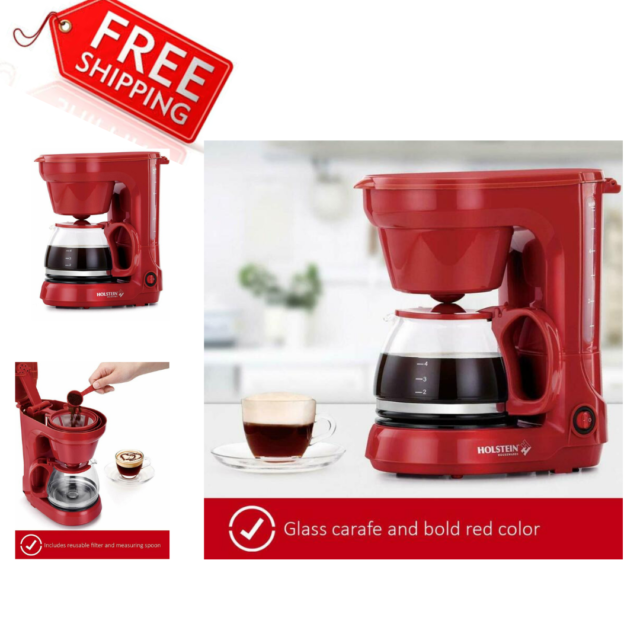 Holstein Housewares Hh 0914701r 5 Cup Filter Coffee Maker Machine Red