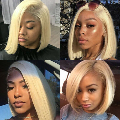 Human Hair Wig Blonde Straight Short Lace Frontal Wigs Remy Brazilian Bob Style Ebay