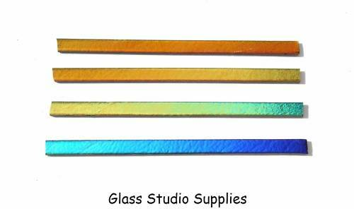 SIZ13 Bullseye 6mm Dichroic Rainbow SizzleStix on Black Glass for Fusing 90coe