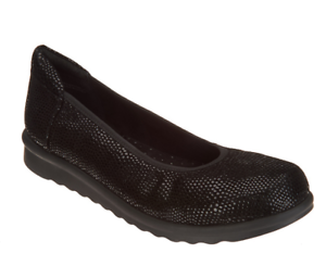 Vaneli Printed Leather Low Wedge Women's Shoes - Donia Black Size 8.5W NEW