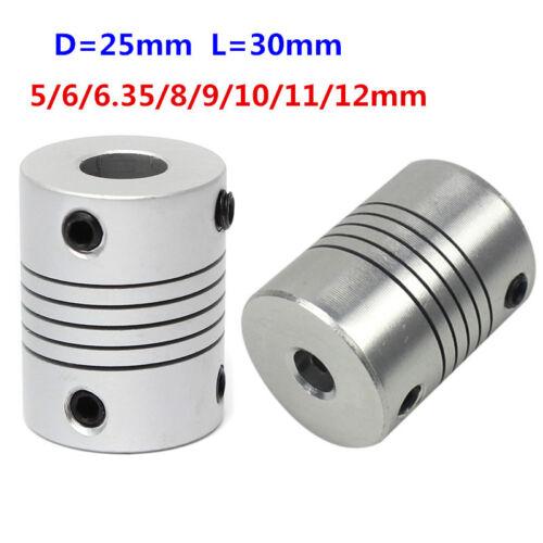 5//6//6.35//8//9//10//12mm Flexible Shaft Coupling CNC Motor Coupler Connector D25L30